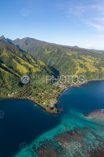 Peninsula of Tahiti, aerial photography of north coast of Tahiti Iti