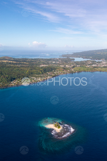 Peninsula of Tahiti, aerial photography of Motu One, white sand islet