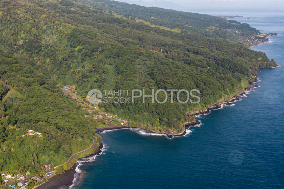 Tahiti, aerial phtography of the coast and blower hole