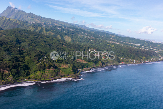 Tahiti, aerial photography of Orohena and coast