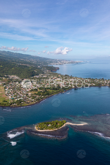 Tahiti aerial photography of Martin islet