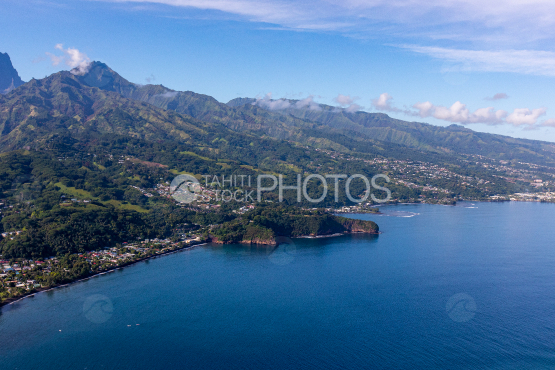 Tahiti, aerial photography of mount Taharaa and mountains
