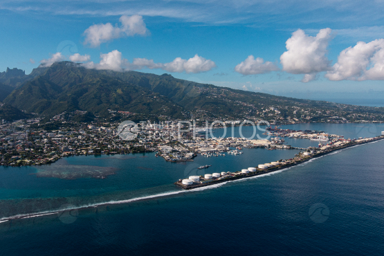 Tahiti, aerial photography of Papeete harbour