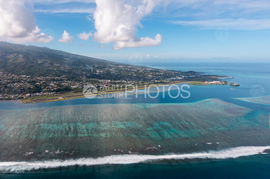 Tahiti, aerial photography of the airport of Faaa