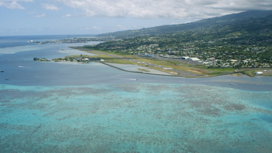 Aerial view of airport of Faaa, lagoon of Tahiti, 4K UHD