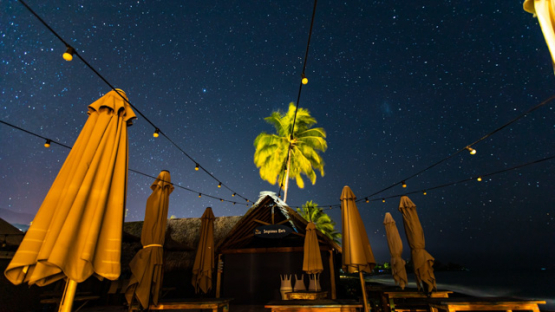 Tahiti, a stary night timelapse from a bar terrace, 4K UHD