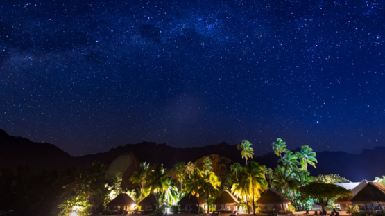 Tahiti, timelapse of the milkyway, and hotel on the beach at night, 4K UHD