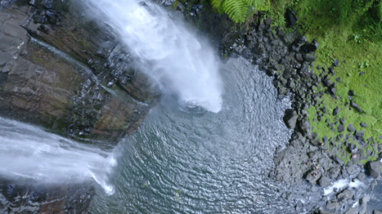 Tahiti, Hitiaa valley, vertical aerial view by drone of the waterfall Fara Ura, 2K7