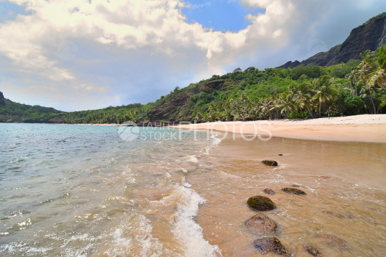 wild hatuatua beach north of nuku hiva, marquises islands