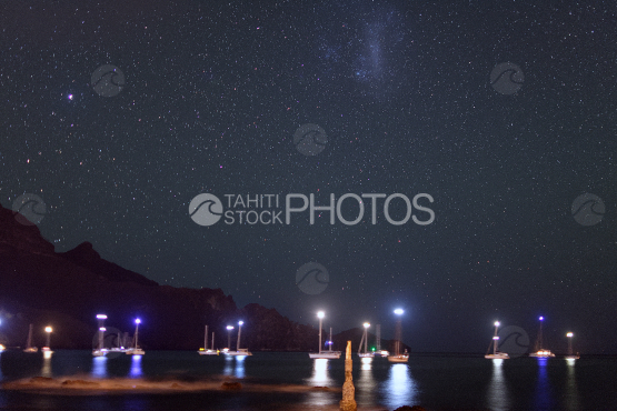 starry sky over taiohae, marquises islands