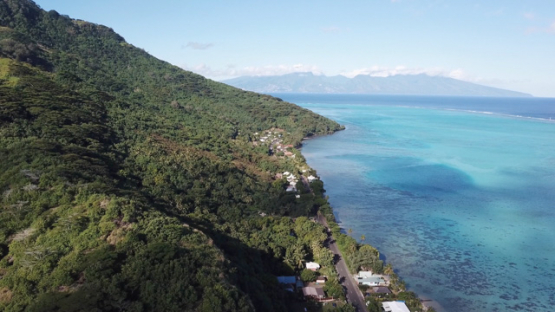 Aerial view by drone of west coast of Moorea and barrier reef, 4K UHD
