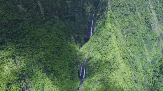 Tahiti, Hitiaa valley, aerial view by drone of the waterfall Fara Ura, 2K7