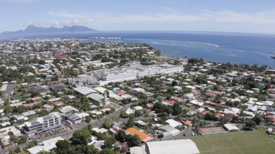 Aerial drone view of Tahiti, town of Arue and hospital, 4K UHD