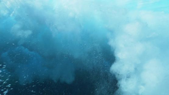 Tahiti, Wave shot from underwater shallow