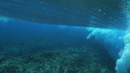 Tahiti, Wave shot from underwater near the shore break