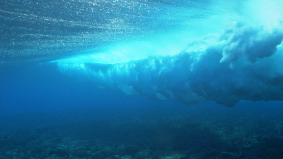 Tahiti, Surfer in the Wave shot from underwater