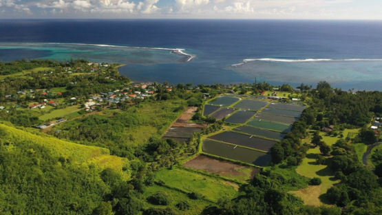 Presqu island of Tahiti, aerial view by drone of the village of Teahupoo and shrimp farming ponds