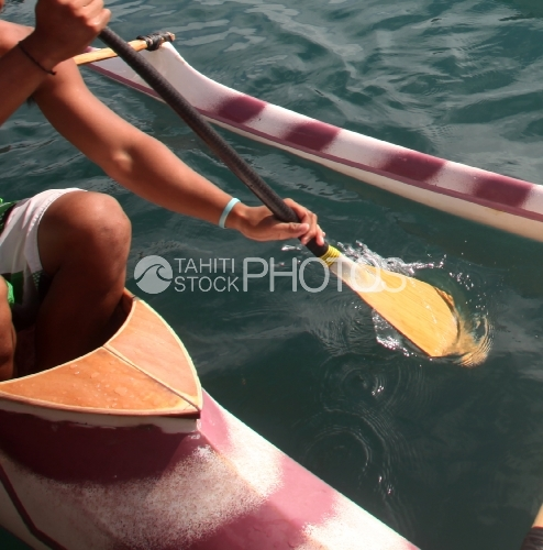 Rameur De Pirogue Polynésienne, Polynesian Rower in Canoe