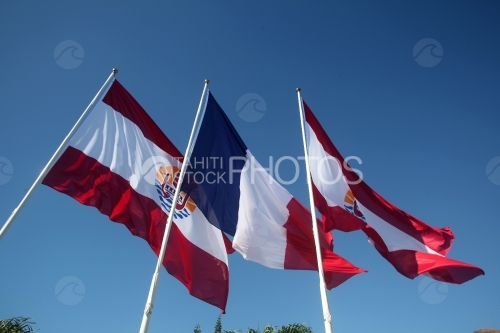 Polynesian and French Flags, Drapeaux Polynésien et Français